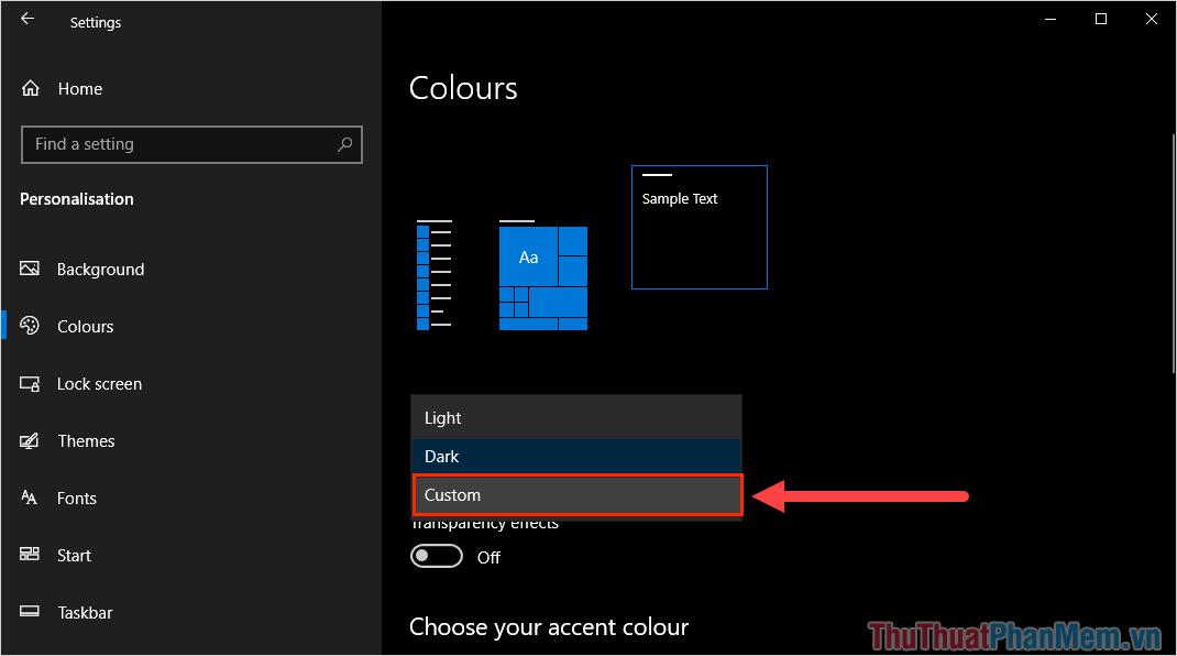 Trong mục Choose your colours, các bạn cần chuyển chúng về chế độ Custom