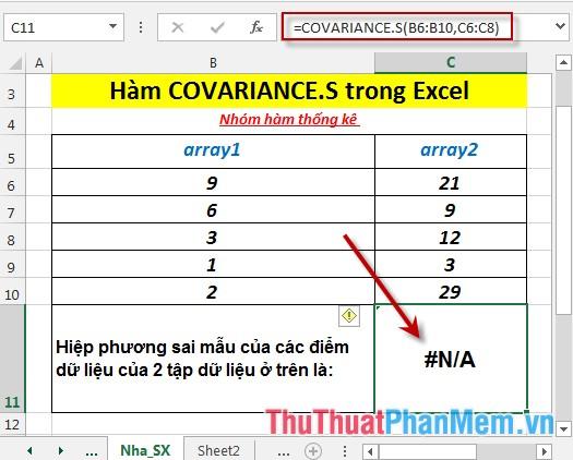 Trường hợp số lượng cặp điểm của 2 mảng không giống nhau - hàm trả về giá trị lỗi #N/A