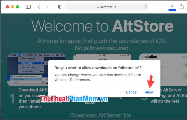 Ấn Allow để cho phép Safari tải về từ trang web này
