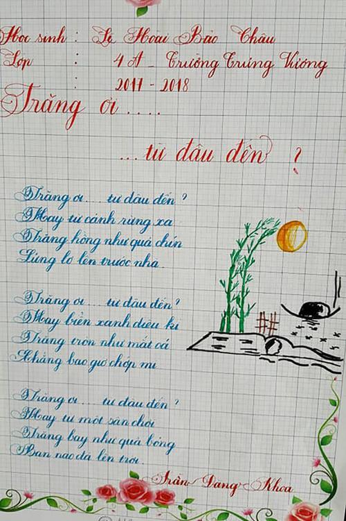 Bài thi viết chữ đẹp của học sinh