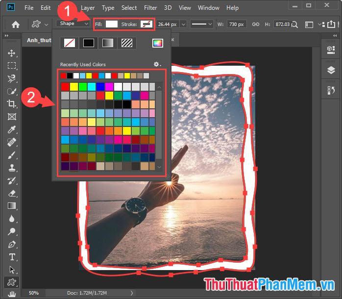 Bạn click vào phần Fill để chọn màu sắc cho viền Border