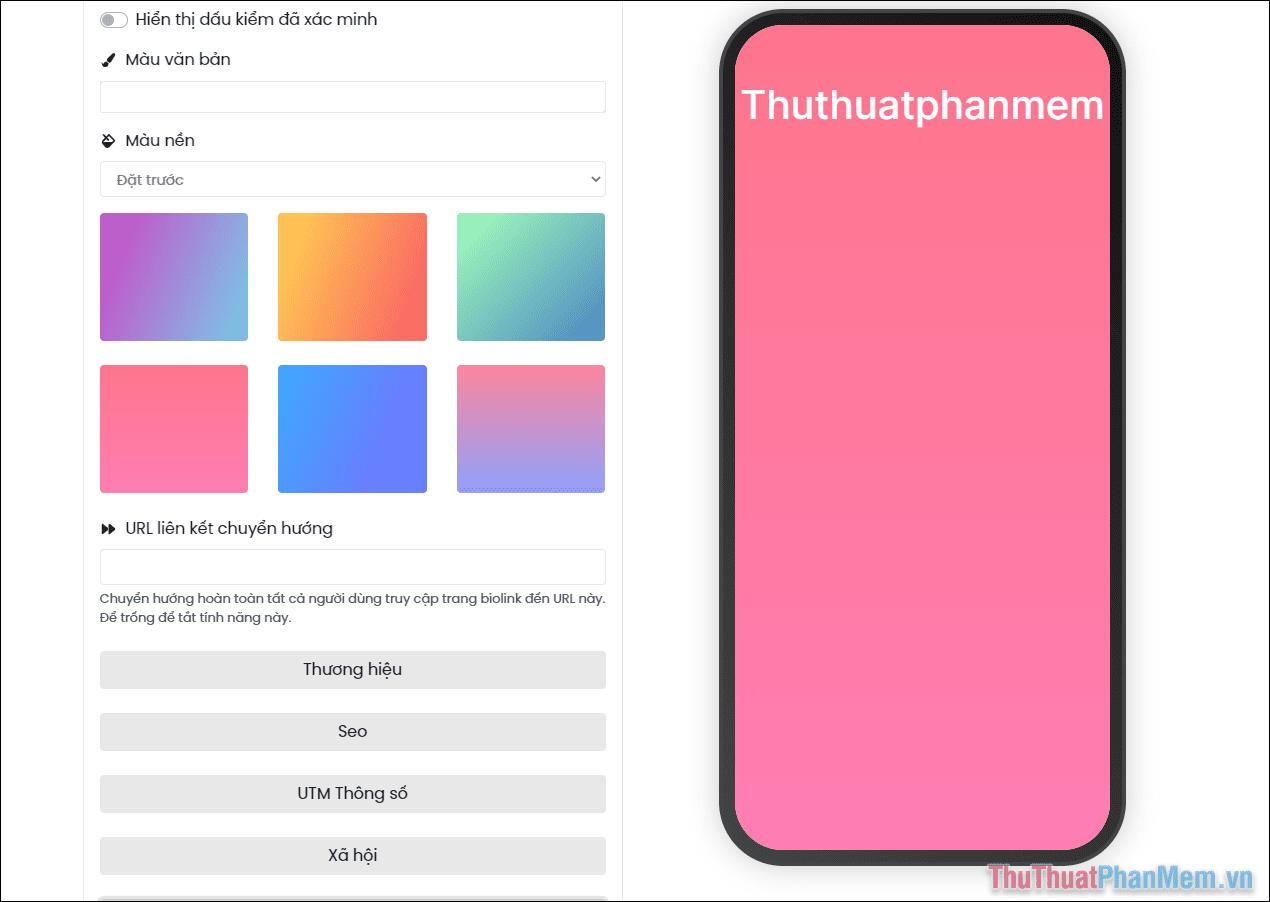 Bạn hãy chọn một màu mình thích để làm chủ đạo cho BioLink