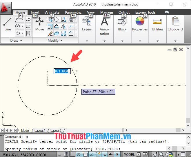 Bạn vẽ đường tròn với bán kính theo nhu cầu của bạn