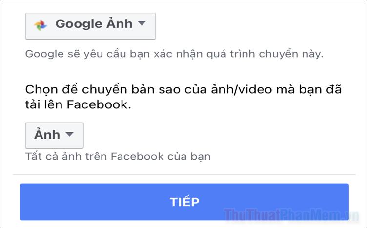 Cách chuyển ảnh Facebook sang Google Ảnh và Dropbox