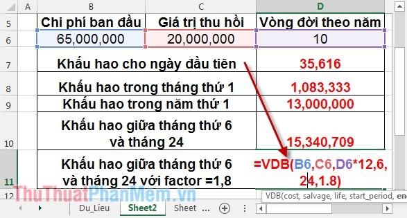 Cách sử dụng hàm VDB 10