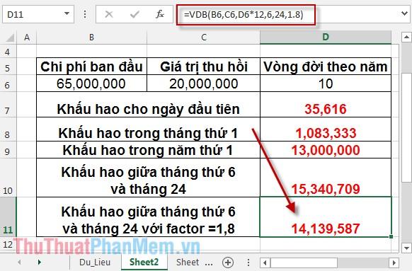 Cách sử dụng hàm VDB 11