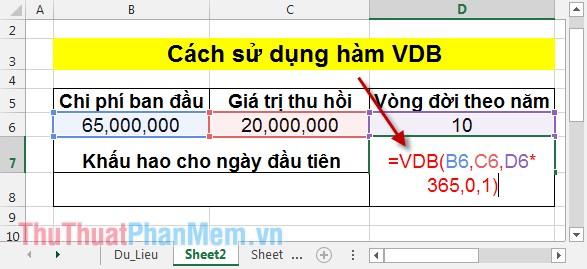 Cách sử dụng hàm VDB 2
