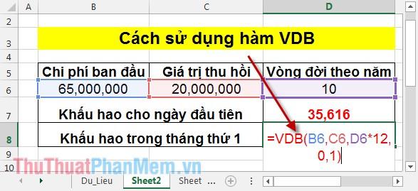 Cách sử dụng hàm VDB 4