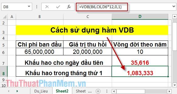 Cách sử dụng hàm VDB 5