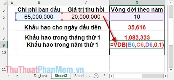 Cách sử dụng hàm VDB 6