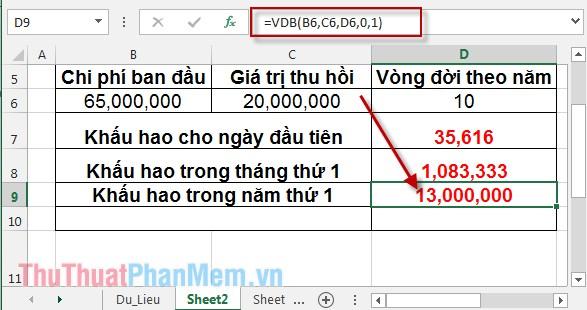 Cách sử dụng hàm VDB 7