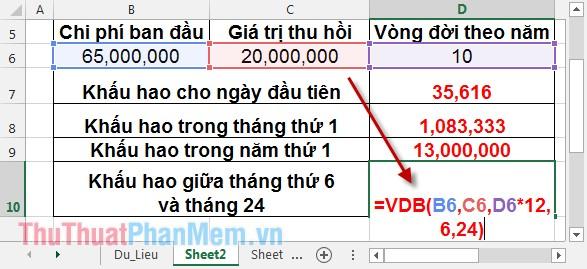 Cách sử dụng hàm VDB 8