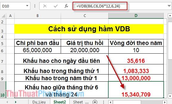 Cách sử dụng hàm VDB 9