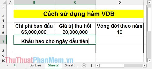 Cách sử dụng hàm VDB