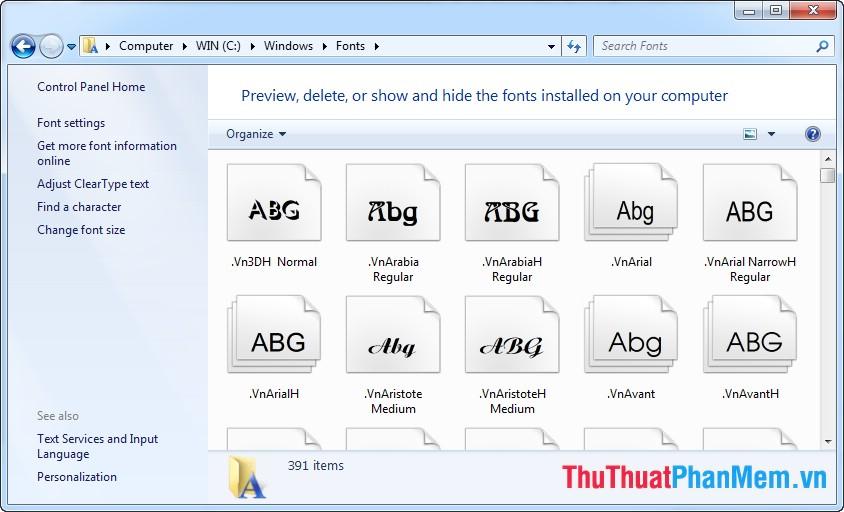 hướng dẫn cài đặt font cho windows