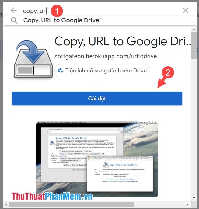 Chọn Cài đặt tiện ích Copy, URL to Google Drive™