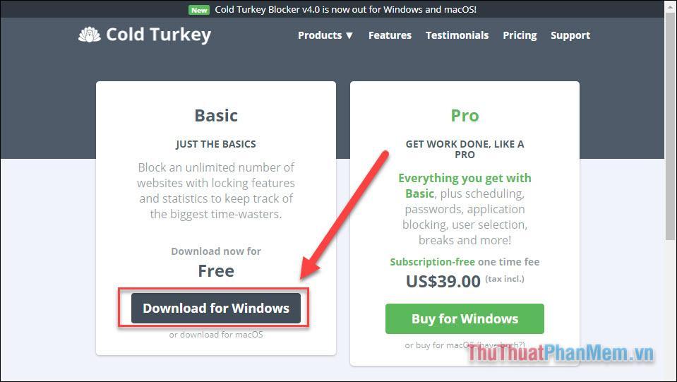 Chọn Free trong phần Pricing để tải về miễn phí