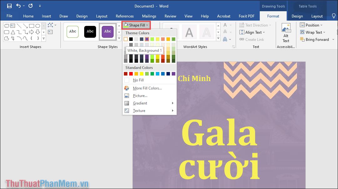 Chọn More Fill Colors để thay đổi màu