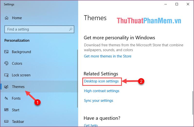 Chọn mục Desktop icon settings