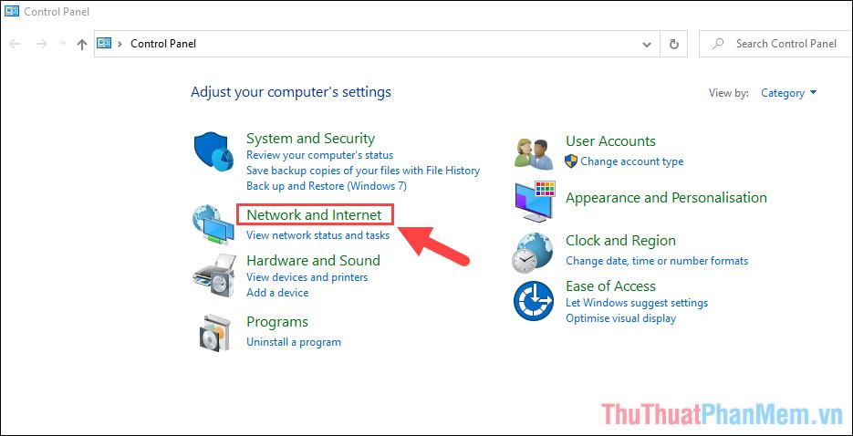 Chọn mục Network and Internet