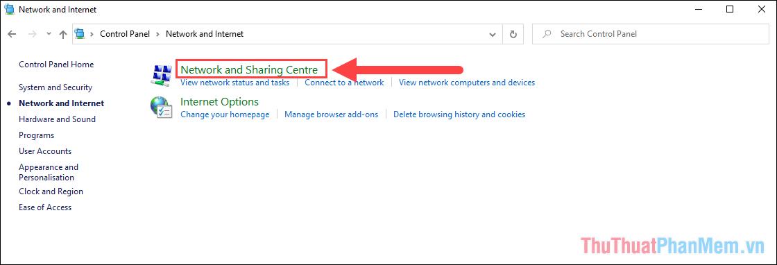 Chọn mục Network and Sharing Centre để tìm kiếm mạng đang sử dụng