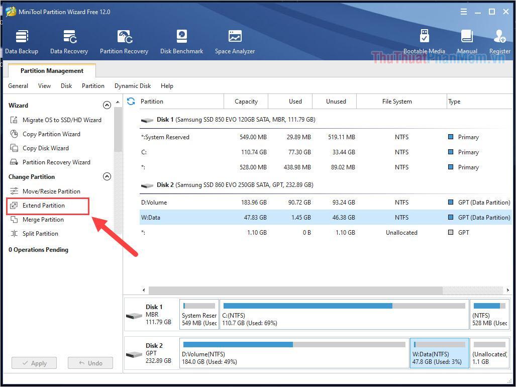 Chọn ổ đĩa cần sửa lỗi Unallocated và chọn Extend Partition