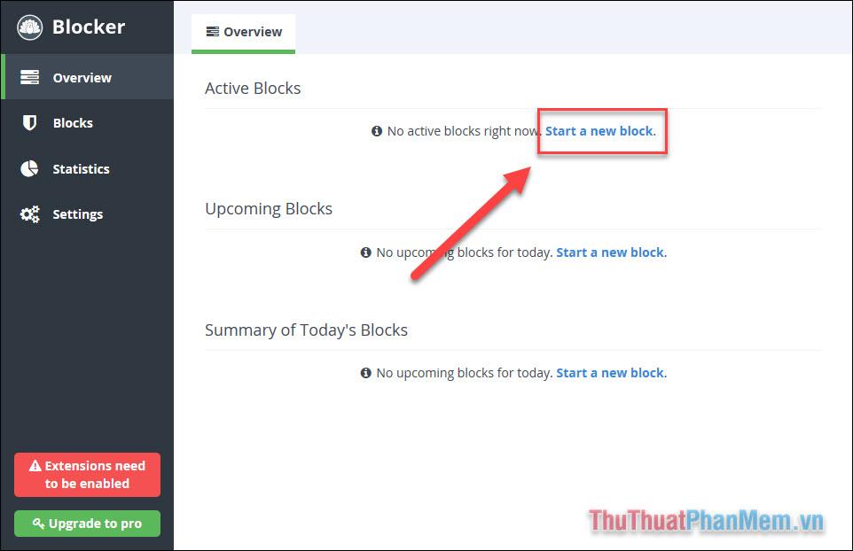 Chọn Start a new block