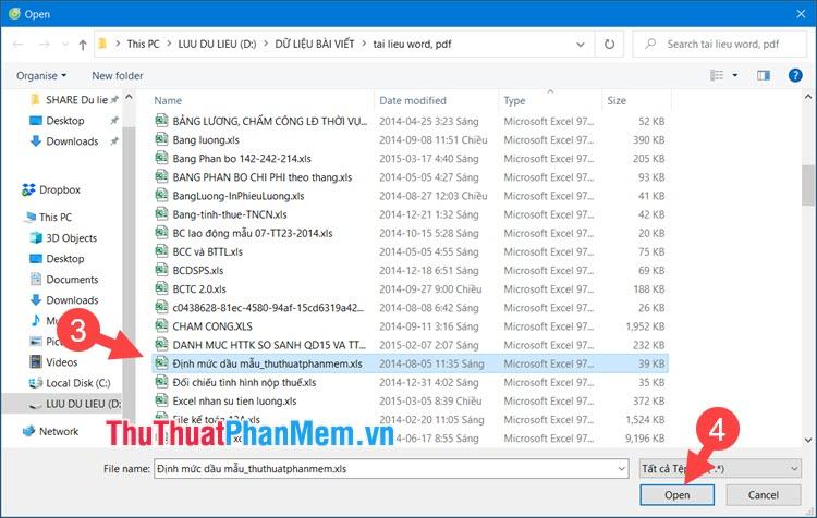 Click chọn file Excel cần tải lên và nhấn Open