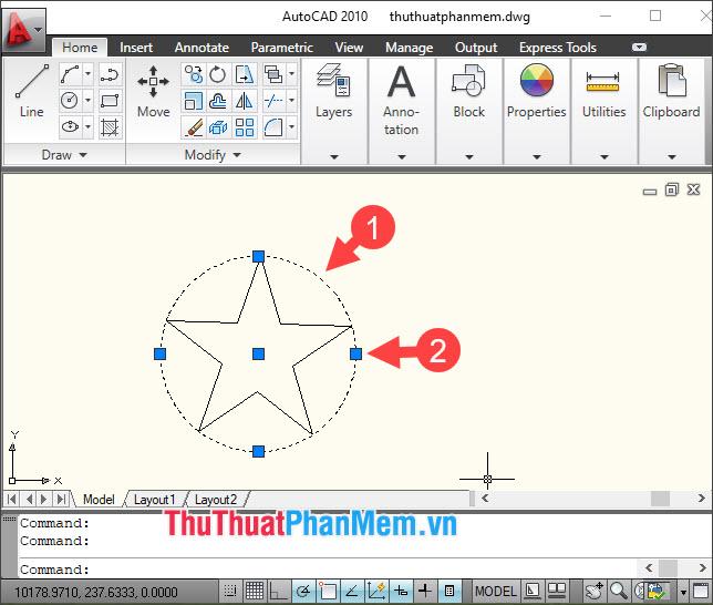 Click vào điểm màu xanh để chỉnh sửa bán kính hình tròn