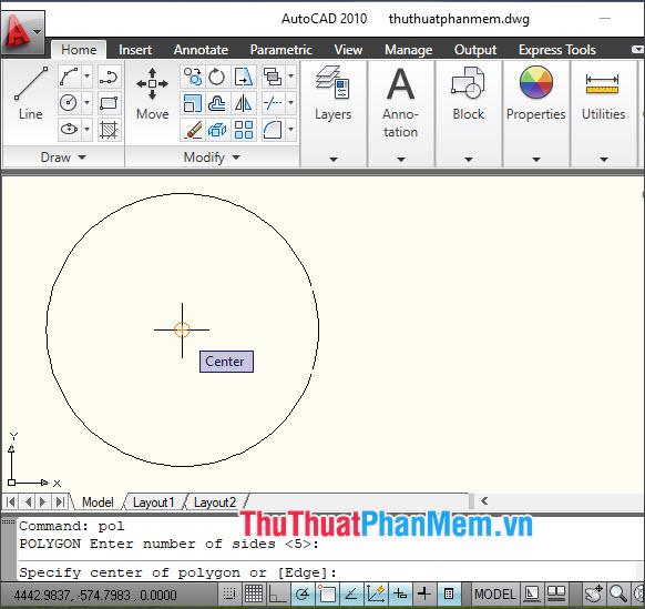 Click vào điểm tâm hình tròn