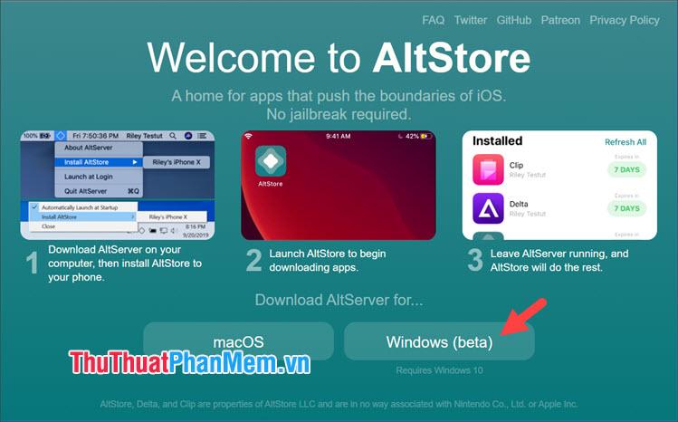 Click vào Windows (beta) để tải về bản cài đặt
