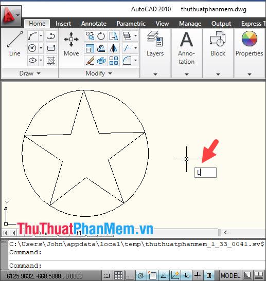 Để vẽ các đường gân cho ngôi sao, bạn dùng lệnh L (Line)