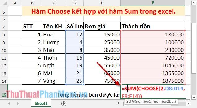 Hàm Choose kết hợp với hàm Sum trong Excel 2