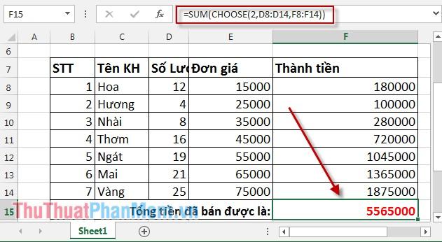 Hàm Choose kết hợp với hàm Sum trong Excel 3