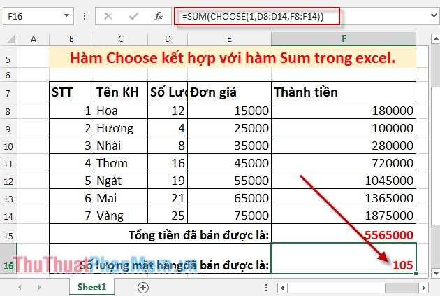 Hàm Choose kết hợp với hàm Sum trong Excel 5