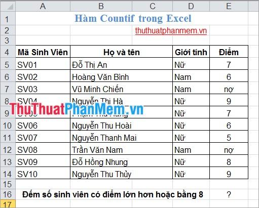 Hàm Countif trong Excel 1