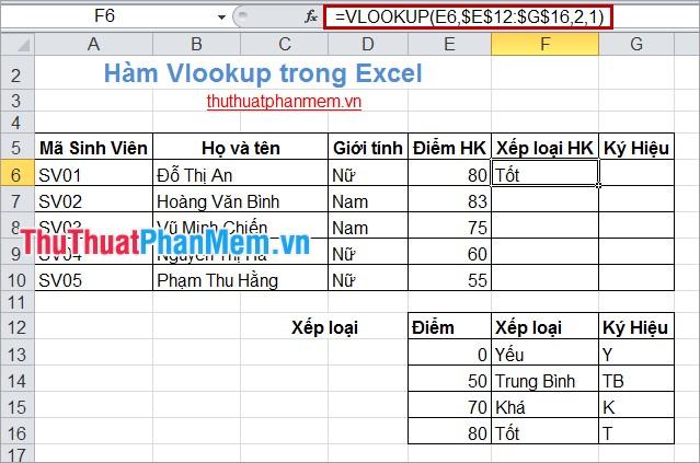 Hàm Vlookup trong Excel 2