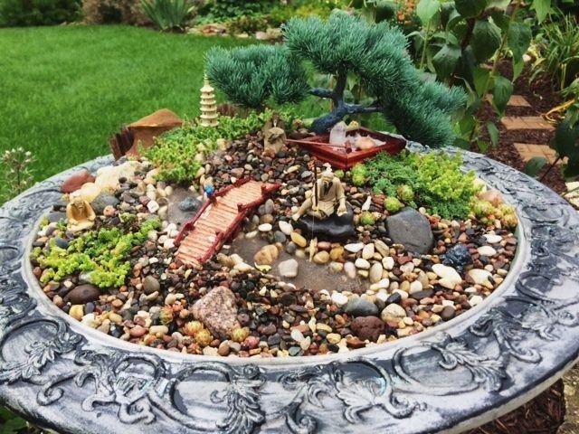 Hình ảnh tiểu cảnh sân vườn thu nhỏ