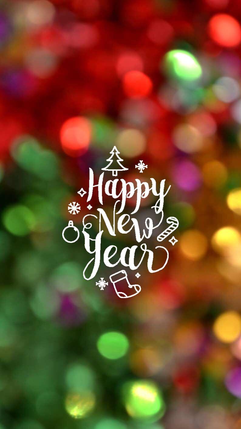 Hình nền Tết với chữ Happy New Year cho điện thoại