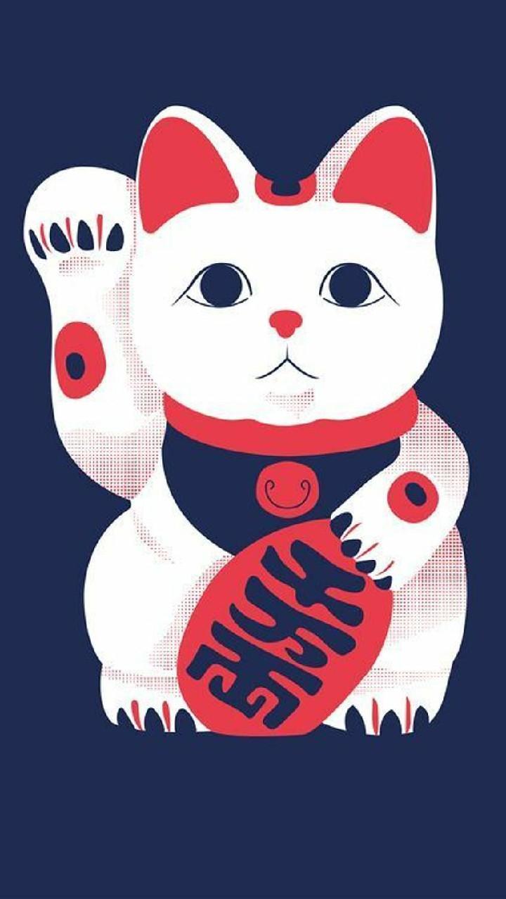 Hình nền Tết với mèo thần tài cho điện thoại