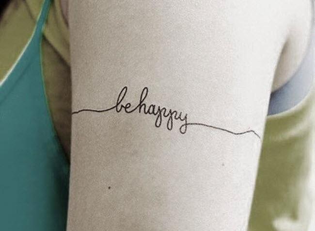 hình xăm chữ be happy đẹp