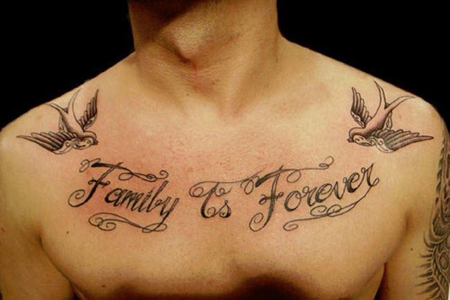 hình xăm chữ family is forever đẹp