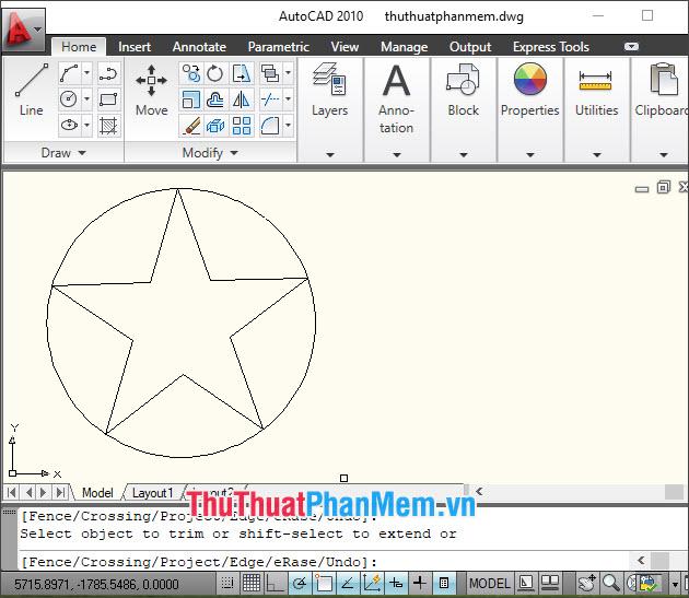 Kết quả bạn đã có hình ngôi sao năm cánh nằm trong đường tròn