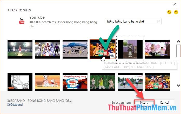 Kết quả tìm kiếm video hiển thị - lựa chọn video cần chèn