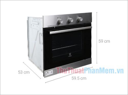 Kích thước lò nướng âm Electrolux EOB2100COX 53 lít