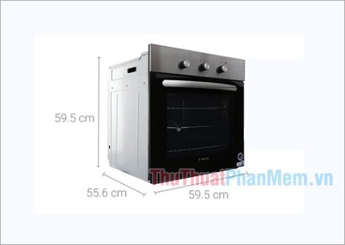 Kích thước lò nướng âm Mallcoca 65 lít MOV-655 EGT