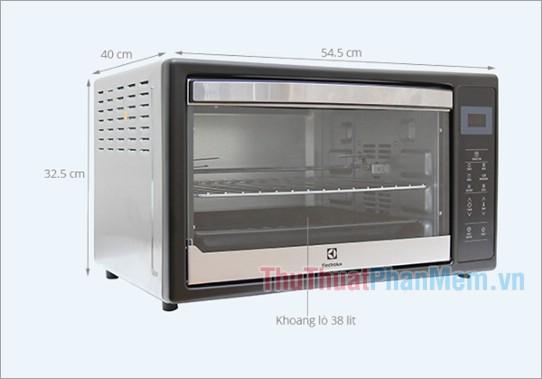 Kích thước lò nướng Electrolux EOT38DXB 38 lít