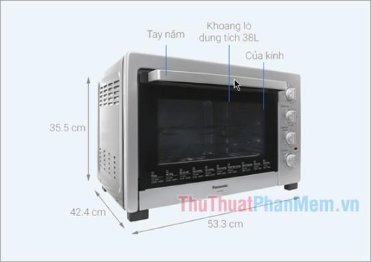 Kích thước lò nướng Panasonic NB-H3800SRA 38 lít