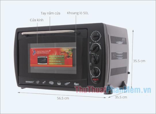 Kích thước lò nướng Sanaky VH 509S 50 lít