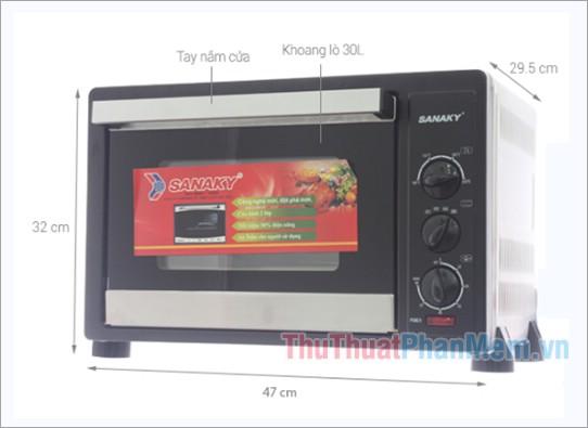 Kích thước lò nướng Sanaky VH309N 30 lít